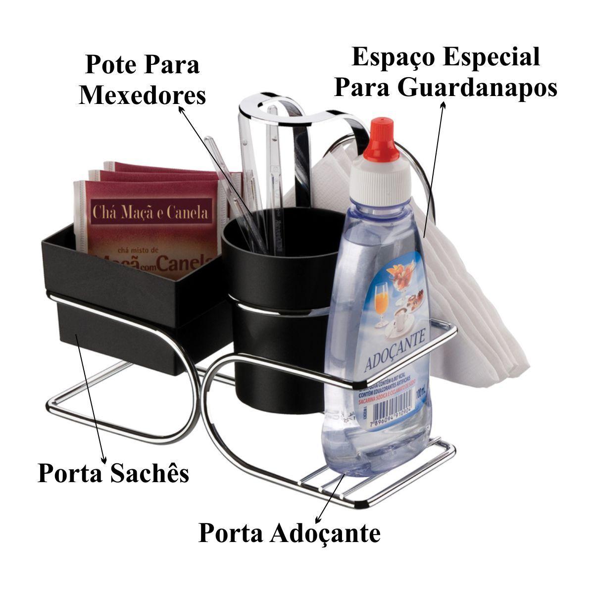 Suporte Porta Sachês Chá Café Açúcar Guardanapo Adoçante - Aço Cromado