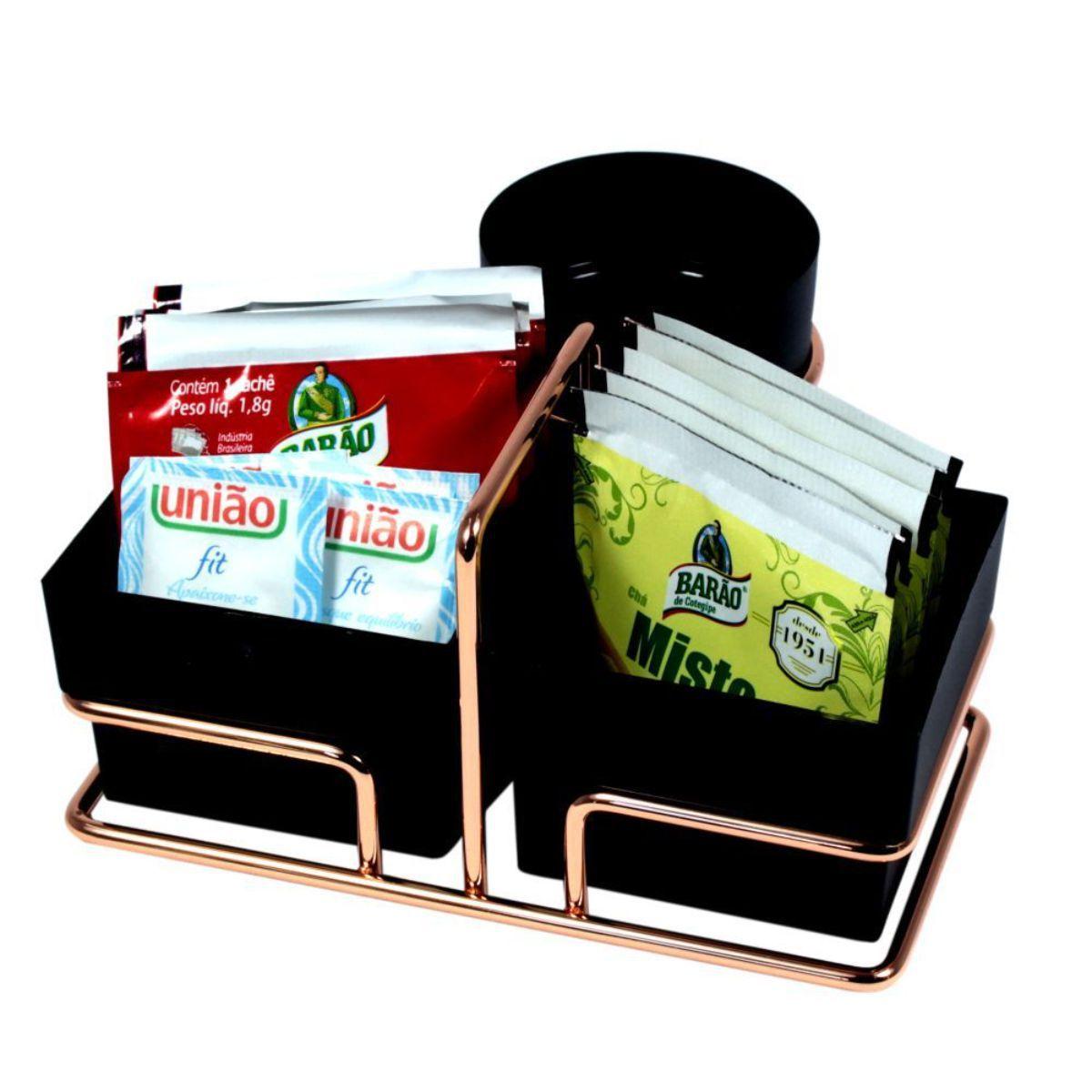 Suporte Porta Sachês de Chá Adoçante Com Porta Mexedores Luxo