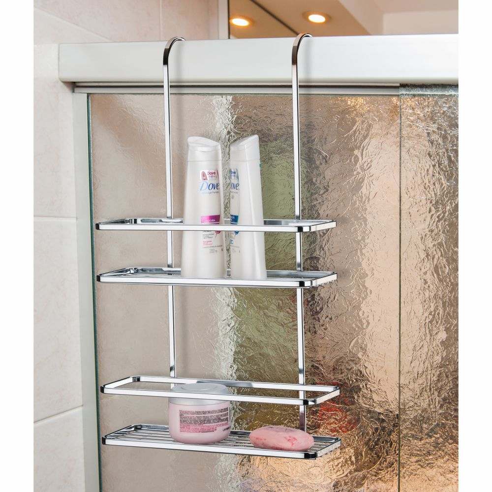 Suporte Duplo Porta Shampoo E Sabonete Encaixar No Box - Cromado