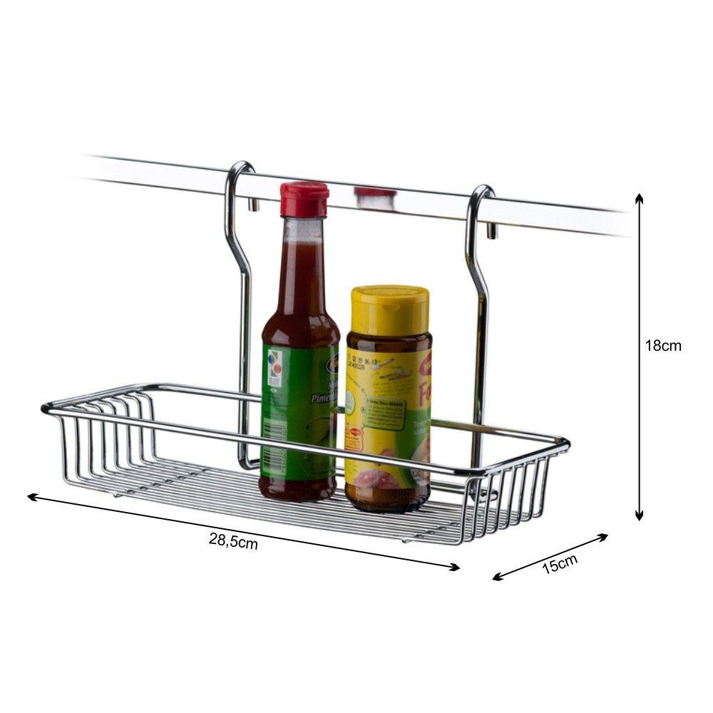 Suporte Retangular Multiuso Para Barra De Cozinha - Aço Cromado