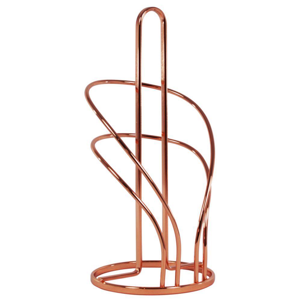 Suporte Rolo Papel Toalha Decorativo Organizador - Cobre