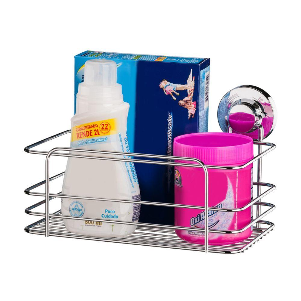 Suporte Sabão/Detergente C/ Cesto Multiuso Lixeira Ventosa