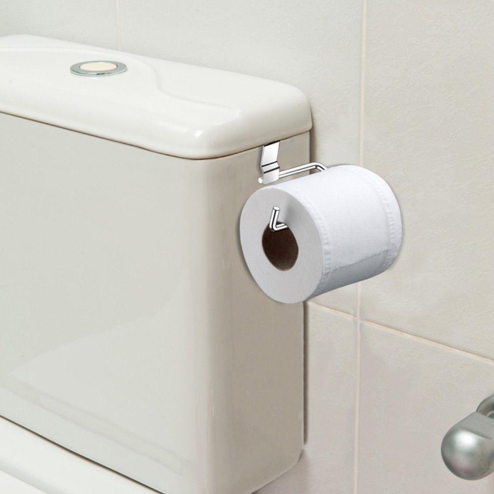 Suporte Simples de Papel Higiênico Para Encaixar Na Caixa De Descarga - Aço Cromado