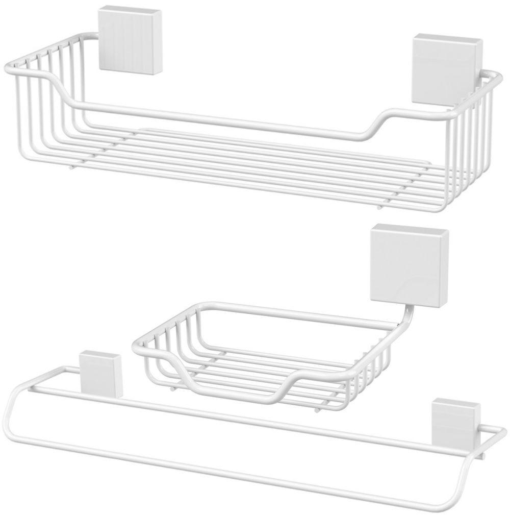 Suportes Organizadores Banheiro 3 peças - Aço Branco