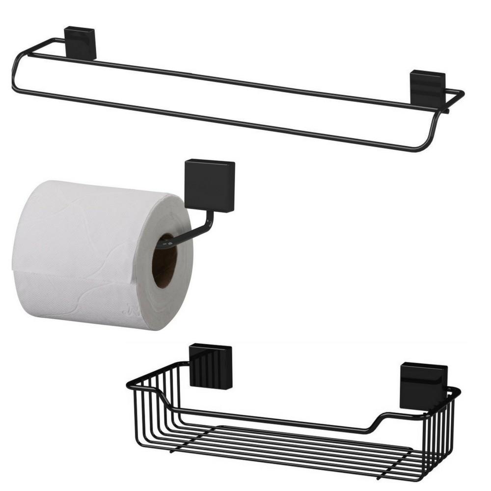 Toalheiro 60 Cm Fixação Parafuso + Porta Shampoo Preto + Papeleira