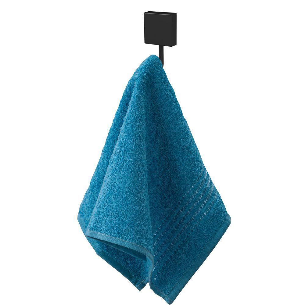 Toalheiro 60cm + Porta Papel Higiênico + Gancho Aço Cor Preta