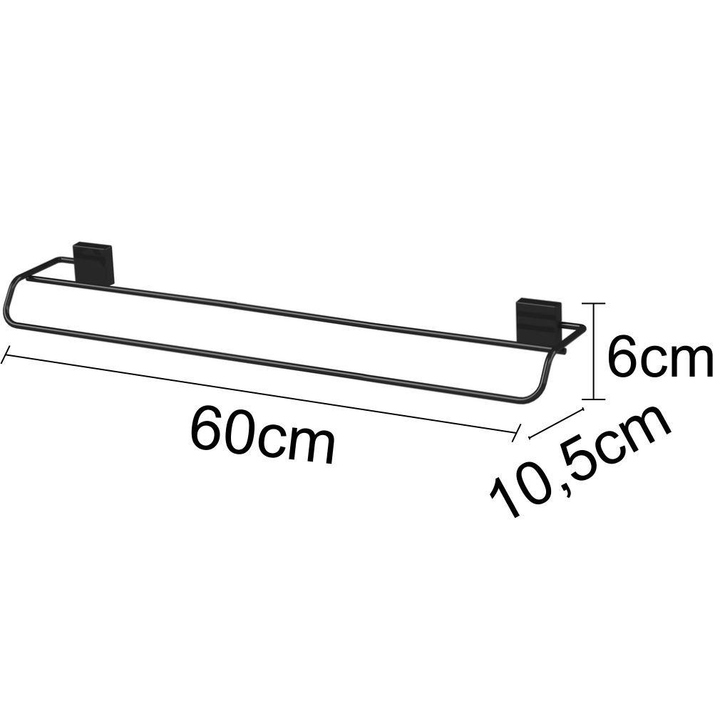 Toalheiro 60cm + Toalheiro + Gancho Aço Cor Preta