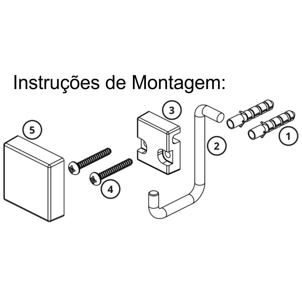 Toalheiro Argola + Gancho Aço Cor Preta Fixação Parafuso
