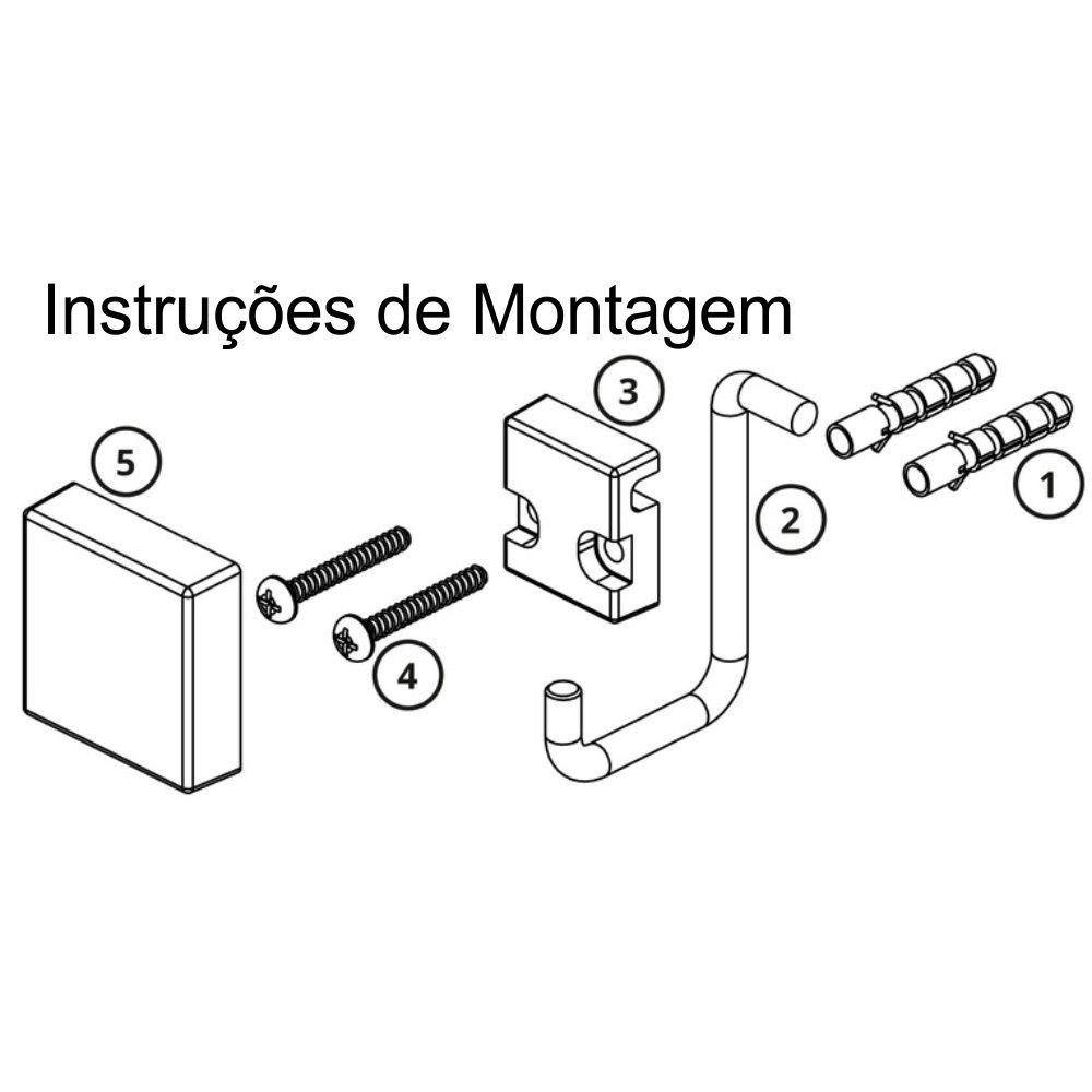 Toalheiro Argola Retangular Fixação Por Parafuso - Preto