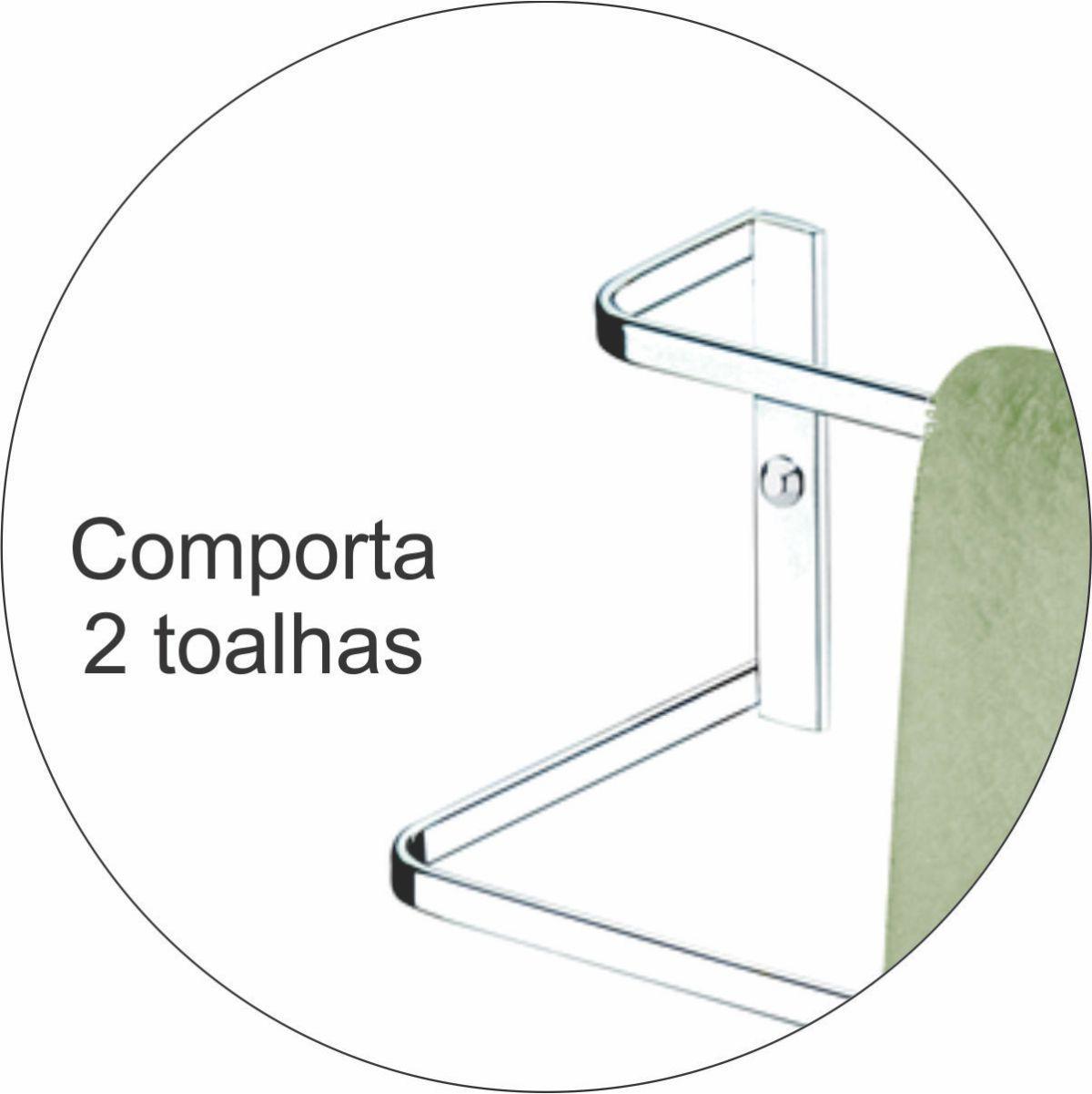 Toalheiro de Parede Duplo 45cm Porta Papel Higiênico - Cromado