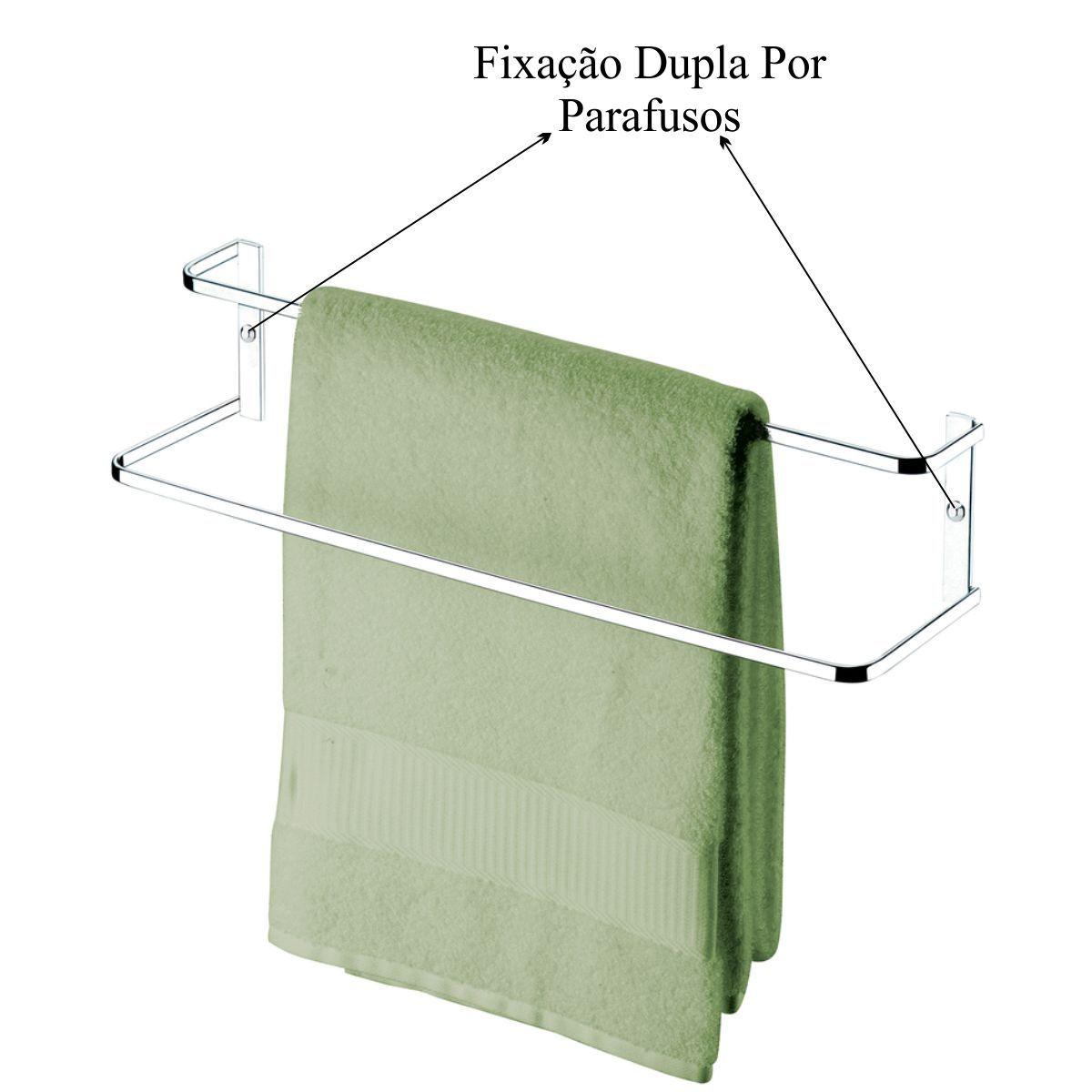 Toalheiro de Parede Duplo 45cm Porta Toalha de Banho - Cromado