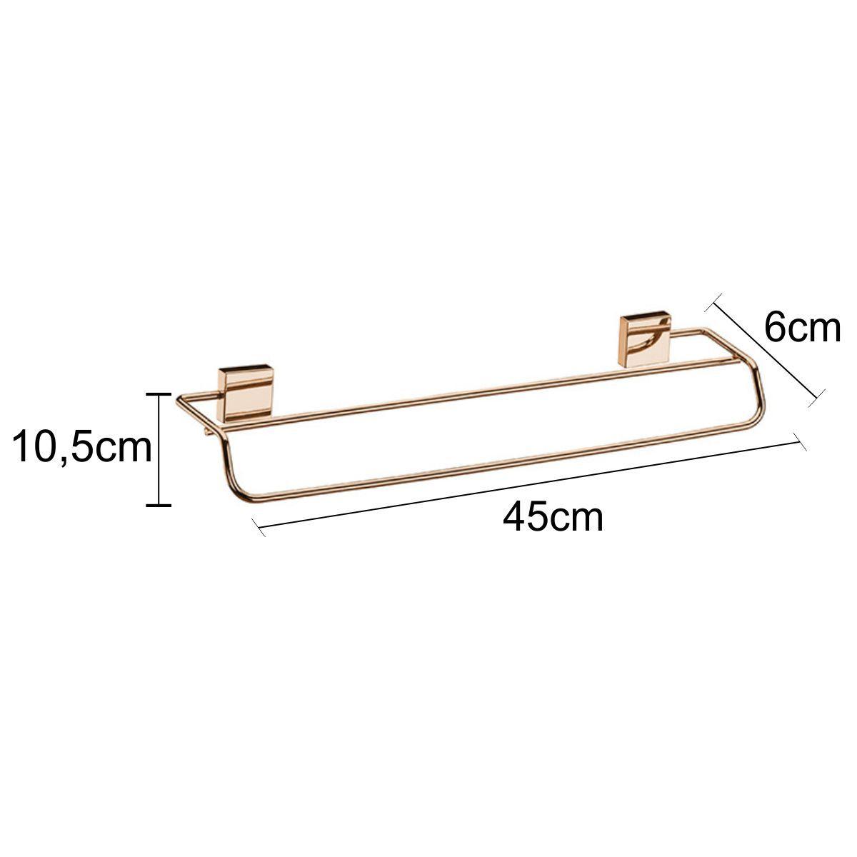Toalheiro Cobre Rosé Gold Duplo 45cm Fixação Parafuso
