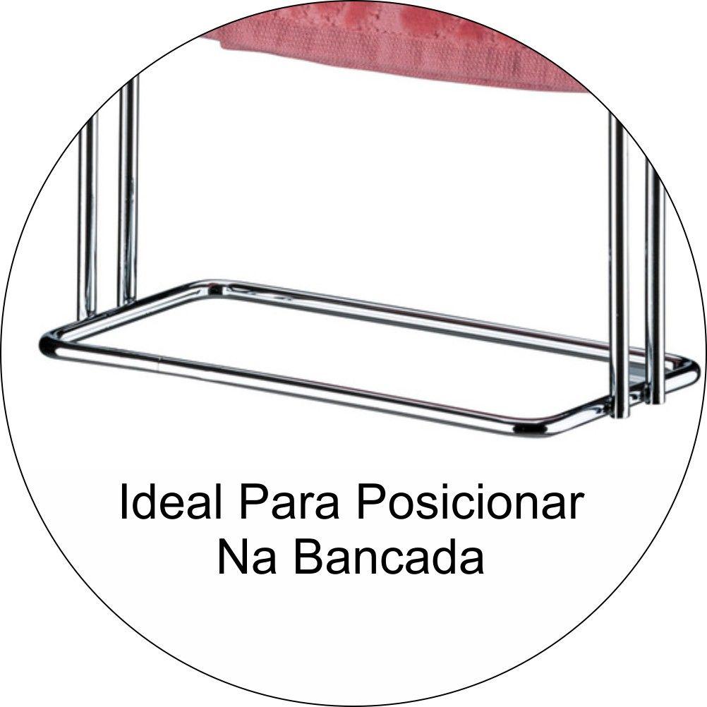 Toalheiro Porta Toalha De Rosto Para Bancada Duplo - Aço Cromado