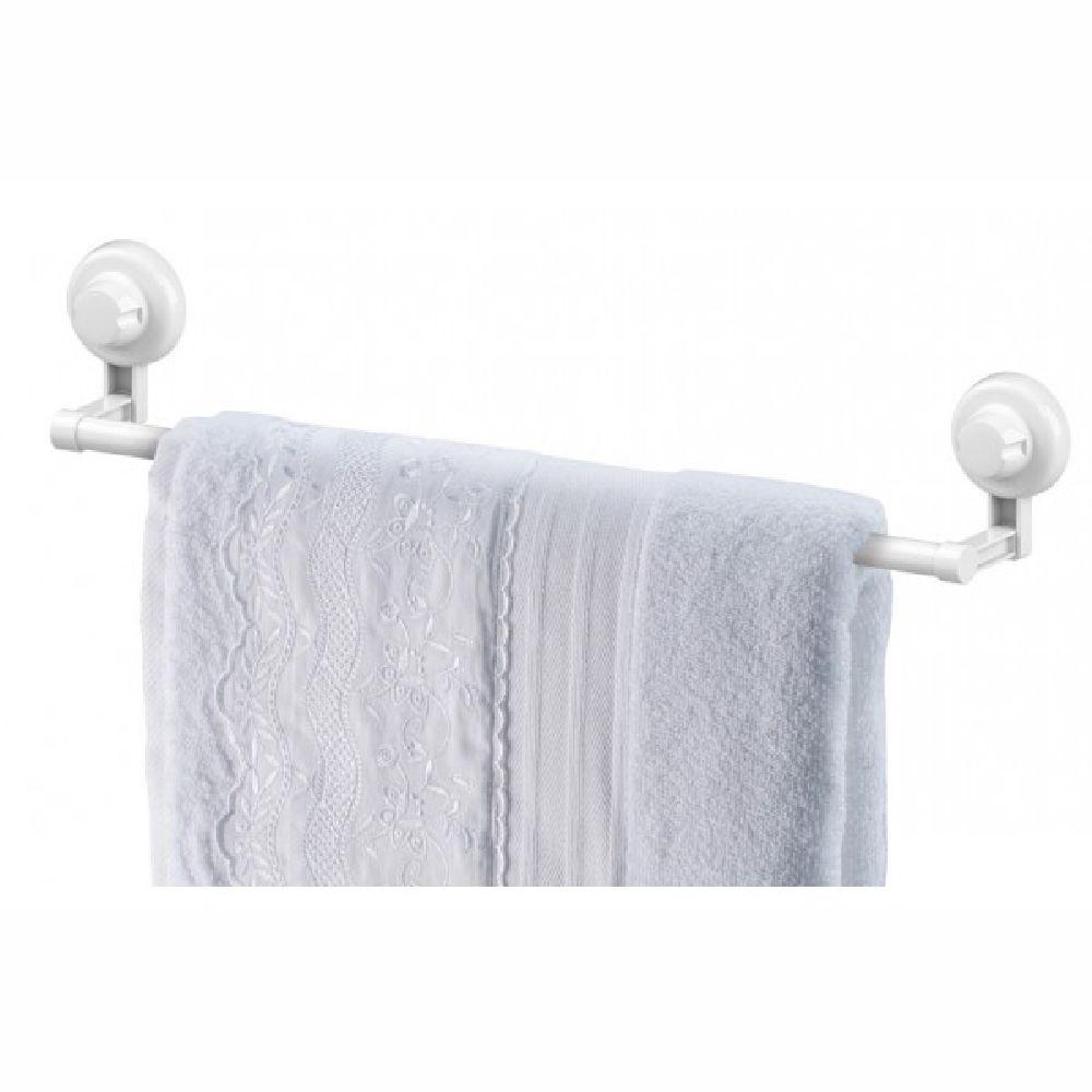 Toalheiro Suporte Porta Toalha de Parede Fixação por Ventosa em ABS - Branco