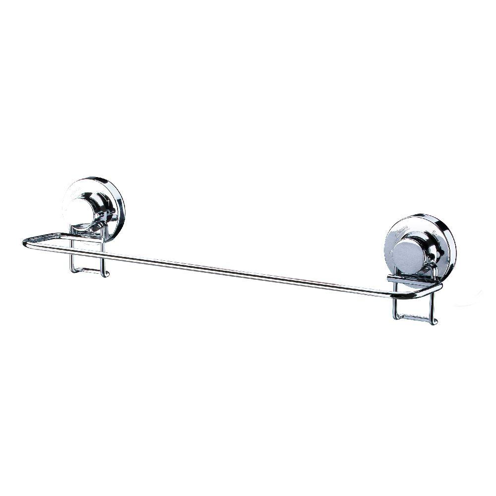 Suporte  Toalheiro Porta Toalha De Parede Fixação Ventosa - Aço Cromado