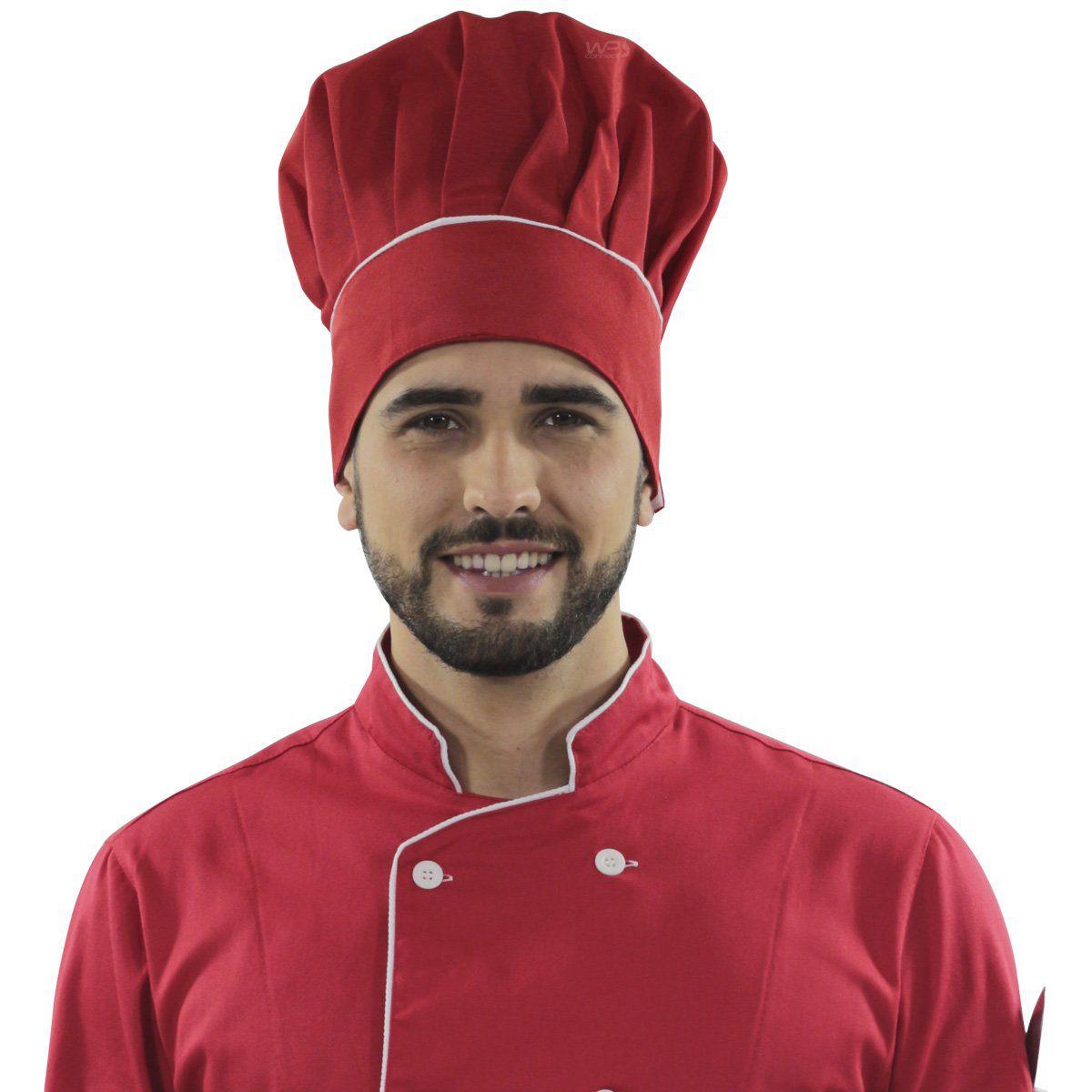 Touca Chef De Cozinha Confeiteiro - Vermelho Red Gold