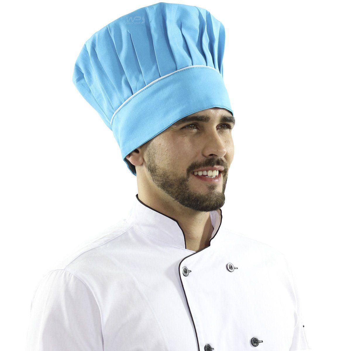 Touca Mestre Cuca Com Detalhe Listra Branca - Azul Caribe - WP Connect fcd32d4259e