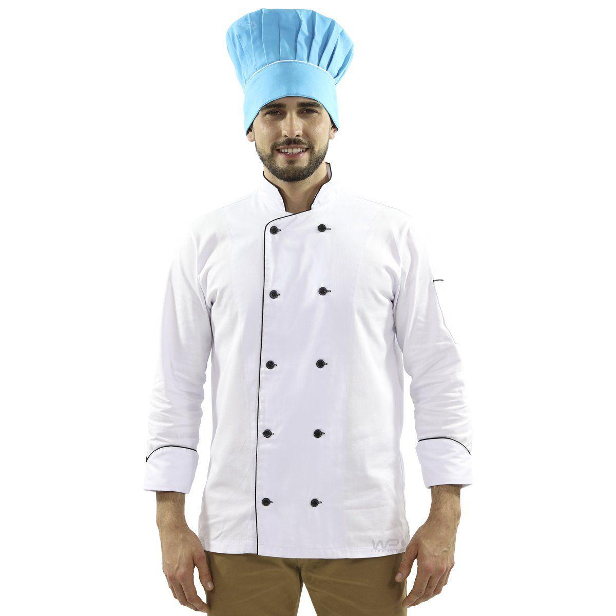 Touca Mestre Cuca Com Detalhe Listra Branca - Azul Caribe