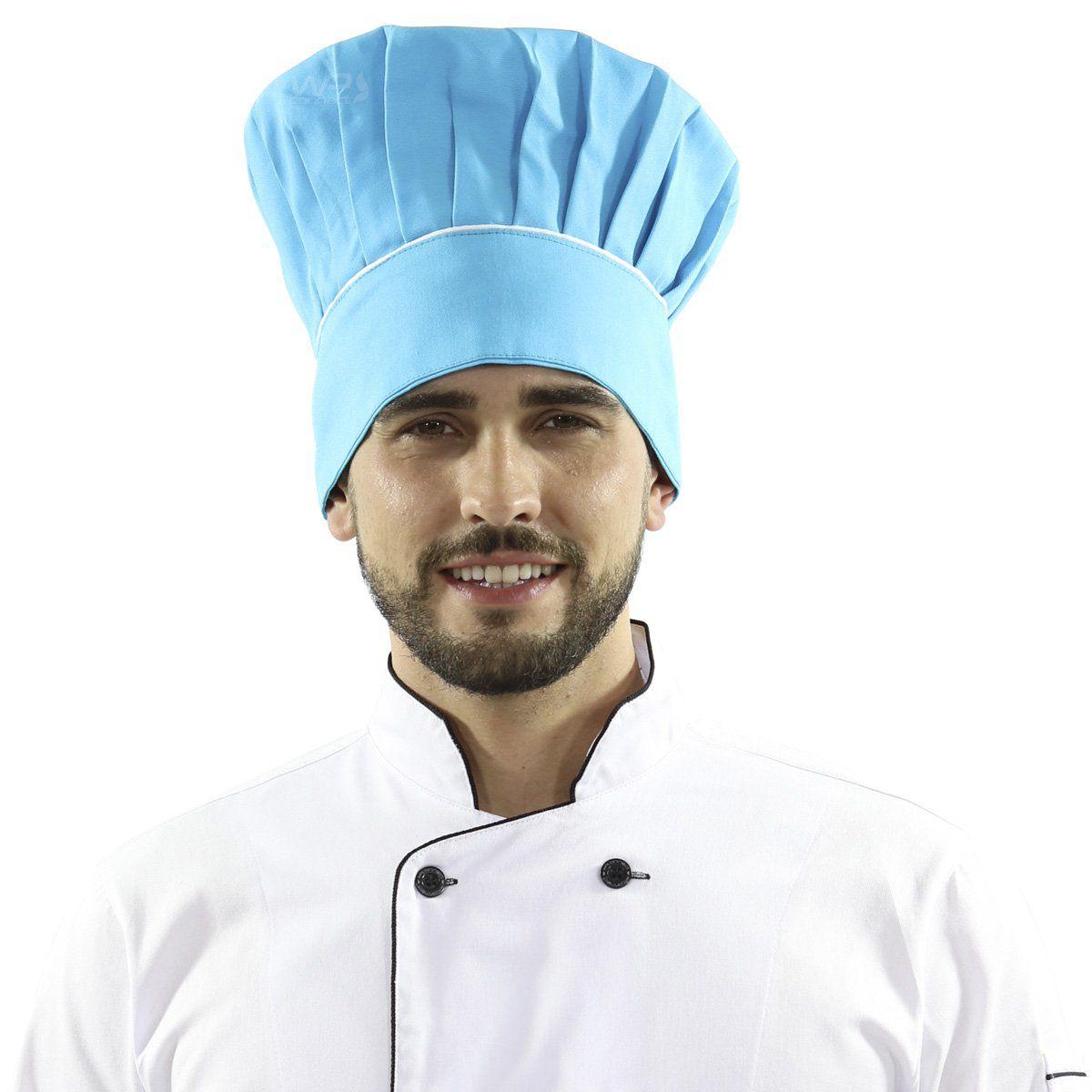 Touca Mestre Cuca Com Detalhe Listra Branca - Azul Caribe - WP Connect 63bbe7d524c