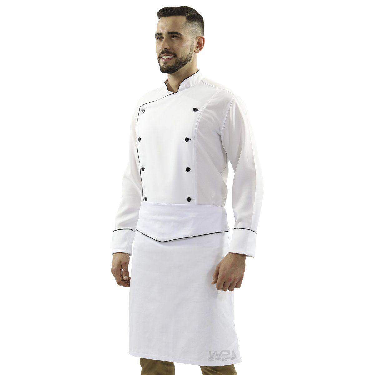 Uniforme de Chef Dólmã Oxford Unissex Avental de Cintura - Branco