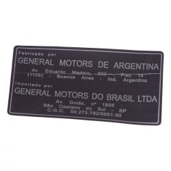 EtiqUeta identificacao local fabrica- Corsa Classic 2009 em diante