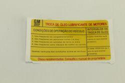EtiqUeta -instrucao de troca de Oleo - Prisma de 2007 a 2012
