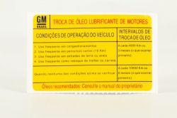 ETIQUETA INSTRUCAO TROCA DE OLEO DO MOTOR- ASTRA 1999 A 2001