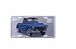 Placa de Aluminio Chevrolet - Pick up 3100 - Prata / Azul 30x15 cm