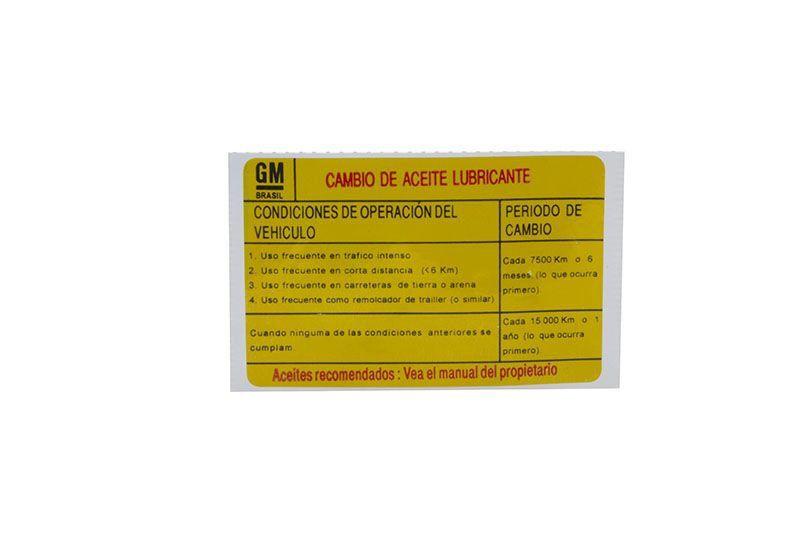 Etiqueta instrucao troca oleo * em espanhol * - Corsa 1994 a 2007