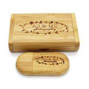 Case Madeira Caramelo Retangular com Pen Drive 32GB Oval Caramelo