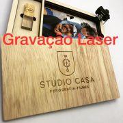 Case Madeira p/ Pen Drive e Foto 10x15 Wood Frame VI