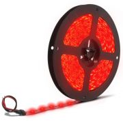 Fita LED 3528 12V Rolo com 5m Luz Vermelha IP65 - Proteção de Silicone