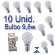 Kit 10 Lâmpadas LED Bulbo 9,8W Bivolt  Certificação Inmetro Luz Branca
