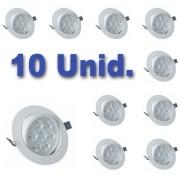 Kit 10 unidades Spot LED 7w Redondo Luz Amarelada
