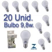 Kit 20 Lâmpadas LED Bulbo 9,8W Bivolt Certificação Inmetro Luz Branca