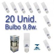 Kit 20 Lâmpadas LED Bulbo 9,8W T40 Bivolt Certificação Inmetro