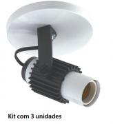 Kit 3 Spots Aleta Sobrepor p/ Lâmpada E27 LED ou Fluorescente
