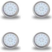 Kit 4 Luminárias Transparentes de LED para Piscina 18W 80mm Luz Azul