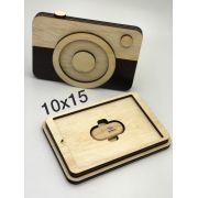 Kit 4GB Case Wood  Câm p/ foto 10x15 + Pen Drive Madeira Oval