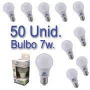 Kit 50 Lâmpadas Bulbo LED 7W Bivolt Certificação Inmetro Luz Branca