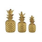 Kit Abacaxi Decorativo 3 peças Dourado