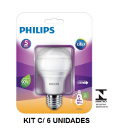 Kit C/ 6 Lâmpadas LED Bulbo Philips 9W Certificada pelo Inmetro Amarela (3000K) - Garantia 5 Anos