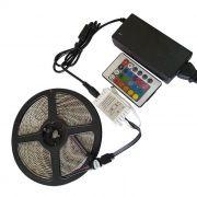 Kit Rolo 5m Fita LED RGB 5050 com Controlador, Controle Remoto e Fonte