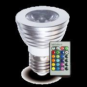 Lâmpada LED RGB Luz Colorida 16 cores e 4 Efeitos c/ Controle Remoto