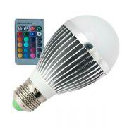 Lâmpada LED Bulbo 3W RGB c/ Controle Remoto E27 Bivolt