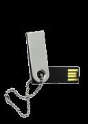 Mini Pen Drive 16GB Slim Giratório Prata Escovado Personalizado com Corrente