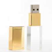 Pen Drive 32GB Metal Gold e Cristal com Tampa Personalizado