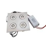 Spot LED 8W Quadruplo Completo Direcionável Em Alumínio