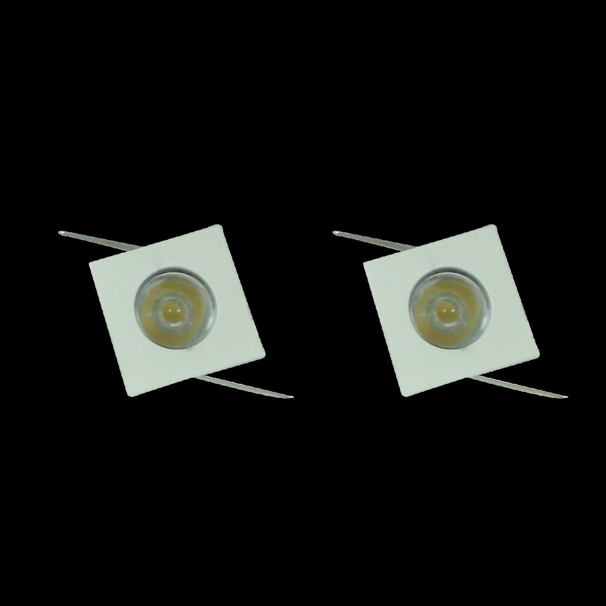 2 Unidades Mini Spot LED 3W Bivolt Quadrado - Embutir em Móvel