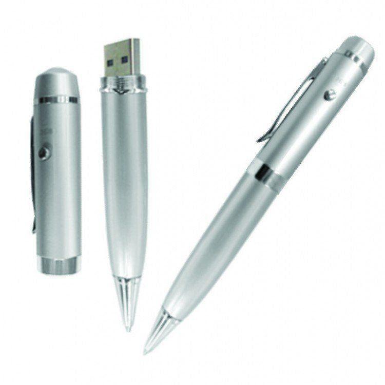 Caneta Pen Drive 32GB Prata com Luz Laser Personalizado